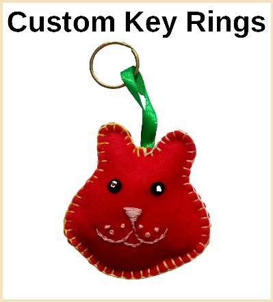 felt and jewelled keyrings