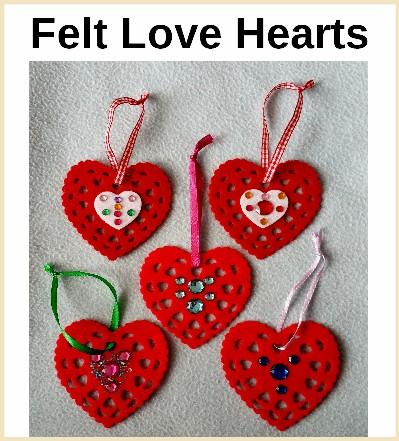 Love hearts in felt