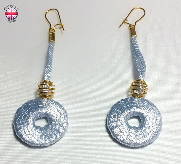 satin designer ear rings, handmade