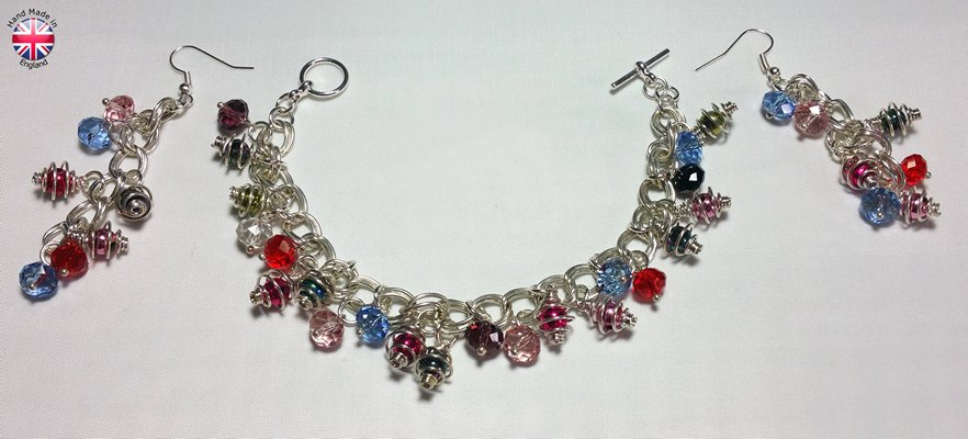 Hand made silver plate Chainmail bracelet and earing set with acrylic bicons and caged beads of various colours
