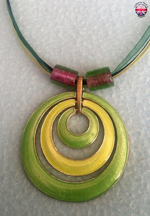 Necklace of Enamelled loops with 2 resin beads.