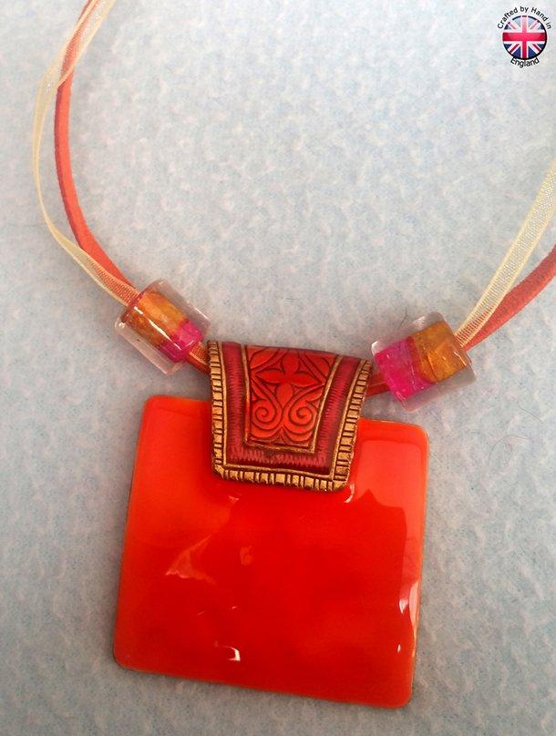 Enamelled Inca style vintage IKITA designed necklace